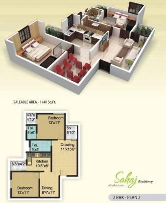 MGR Sahaj Residency (2BHK+2T (1,148 sq ft) Apartment 1148 sq ft)