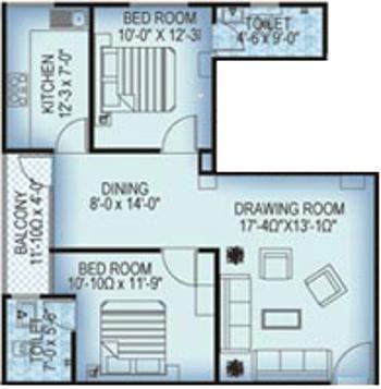 Manglam Metropolis (2BHK+2T (1,103 sq ft) Apartment 1103 sq ft)