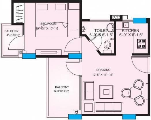 Upasna Rosewood Apartments (1BHK+1T (670 sq ft) Apartment 670 sq ft)