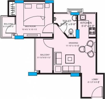 Upasna Rosewood Apartments (1BHK+1T (737 sq ft) Apartment 737 sq ft)