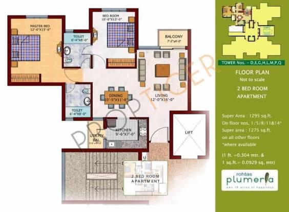 Rohtas Plumeria (2BHK+2T (1,275 sq ft) Apartment 1275 sq ft)