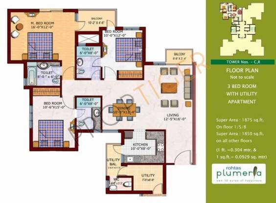 Rohtas Plumeria (3BHK+3T (1,875 sq ft) Apartment 1875 sq ft)