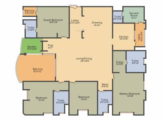 NCC Gardenia (4BHK+4T (3,347 sq ft) + Servant Room Apartment 3347 sq ft)