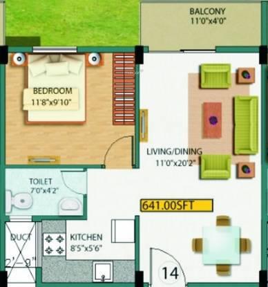 Gunina Jeno (1BHK+1T (641 sq ft) Apartment 641 sq ft)