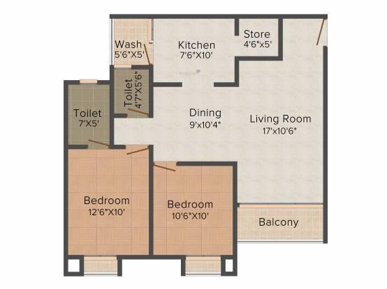 Avirat Silver Gardenia (2BHK+2T (1,359 sq ft) Apartment 1359 sq ft)