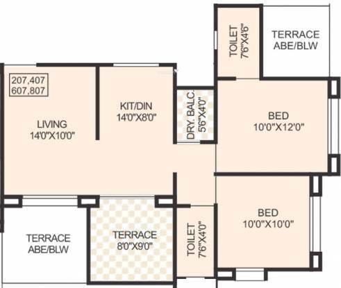 Prasun Loreto (2BHK+2T (800 sq ft) Apartment 800 sq ft)