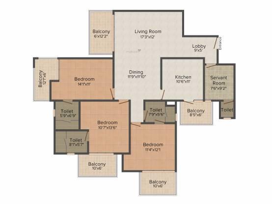 Suncity Parikrama (3BHK+3T (1,850 sq ft) Apartment 1850 sq ft)