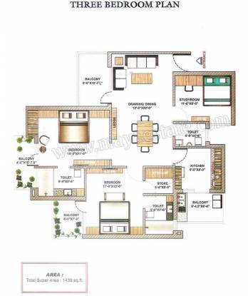 Maya Garden2 (3BHK+3T (1,439 sq ft) Apartment 1439 sq ft)