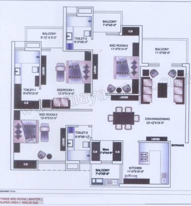 Maya Garden3 EXT (3BHK+3T (1,852 sq ft) Apartment 1852 sq ft)
