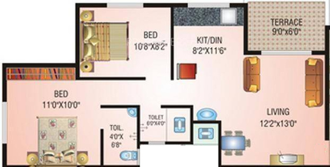 Nisarg Sahara (2BHK+2T (1,145 sq ft) Apartment 1145 sq ft)
