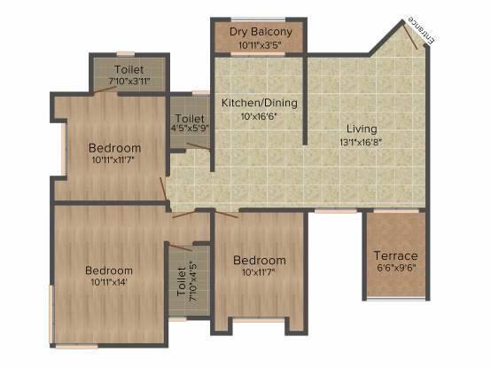 Bhandari Alacrity (3BHK+3T (1,346 sq ft) Apartment 1346 sq ft)