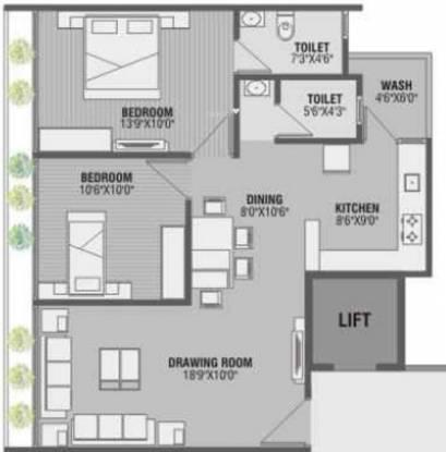 Golden Swarnim Square (2BHK+2T (1,152 sq ft) Apartment 1152 sq ft)