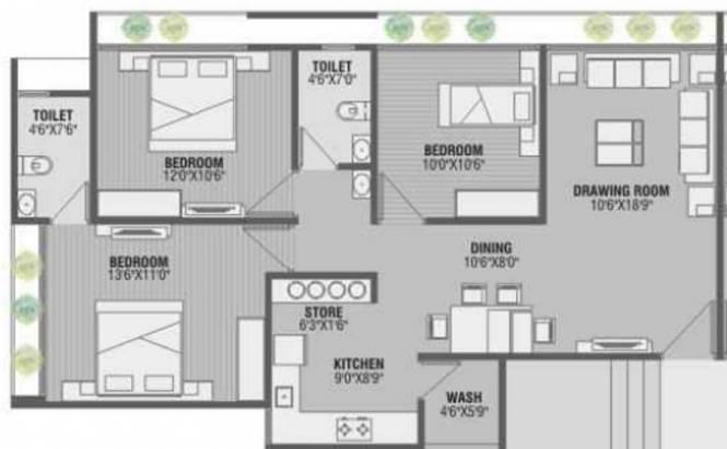 Golden Swarnim Square (3BHK+2T (1,449 sq ft) Apartment 1449 sq ft)