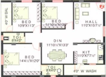 SSVS KSR Residency (3BHK+3T (1,425 sq ft) Apartment 1425 sq ft)