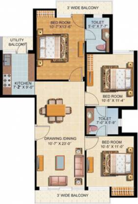 Omaxe Silver Birch (3BHK+2T (1,180 sq ft) Apartment 1180 sq ft)