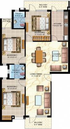 Omaxe Silver Birch (3BHK+2T (1,640 sq ft) Apartment 1640 sq ft)