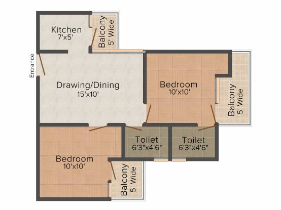 MR Proview Royal Garden (2BHK+2T (850 sq ft) Apartment 850 sq ft)