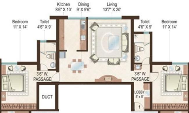 Sheth Beau Monde (2BHK+2T (1,305 sq ft) Apartment 1305 sq ft)