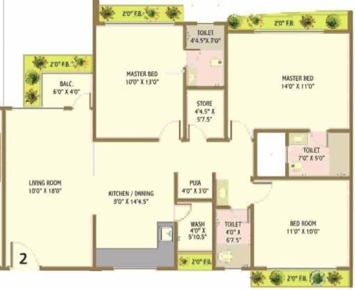 Happy Home Nandanvan III (3BHK+3T (1,750 sq ft) + Pooja Room Apartment 1750 sq ft)