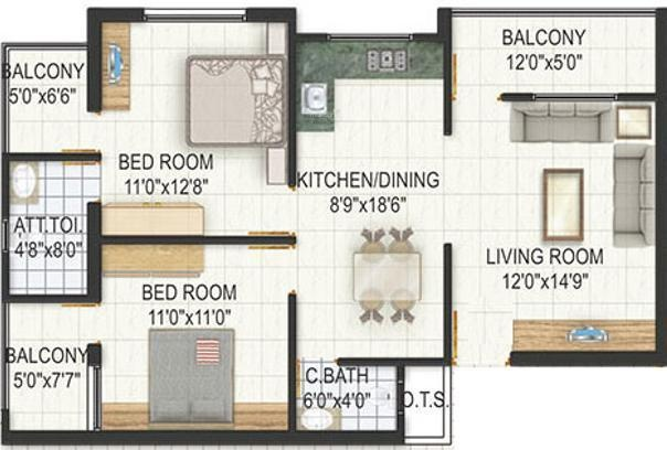Raghukul Earth Heights (2BHK+2T (1,050 sq ft) Apartment 1050 sq ft)