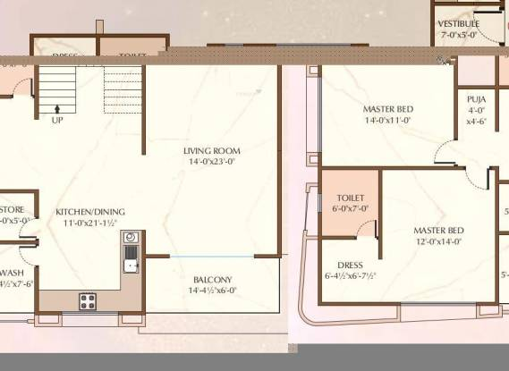 Happy Home Vastu Discovery (4BHK+5T (4,483 sq ft) + Servant Room Apartment 4483 sq ft)
