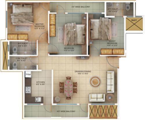 Satyam Heritage (3BHK+3T (1,281 sq ft) Apartment 1281 sq ft)