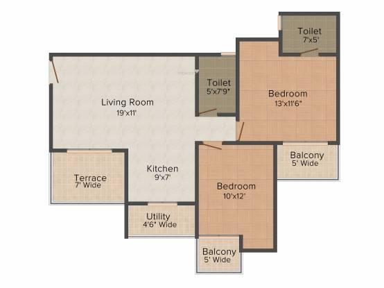 Resizone Resizone Residency (2BHK+2T (1,190 sq ft) Apartment 1190 sq ft)
