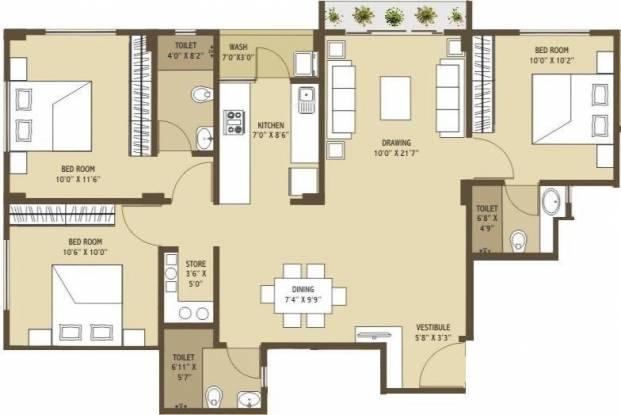 Merlin Arham (3BHK+3T (1,413 sq ft) Apartment 1413 sq ft)