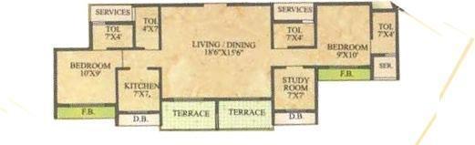 Newa Garden II (2BHK+3T (1,350 sq ft) + Study Room Apartment 1350 sq ft)