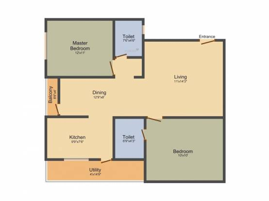 Ajantha Royal (2BHK+2T (1,065 sq ft) Apartment 1065 sq ft)