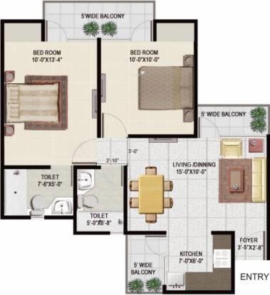 Panchsheel Greens 2 (2BHK+2T (915 sq ft) Apartment 915 sq ft)