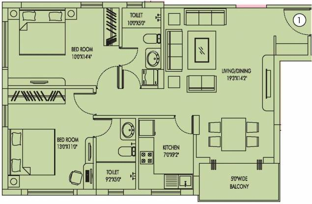 Utkal Heights (2BHK+2T (1,185 sq ft) Apartment 1185 sq ft)