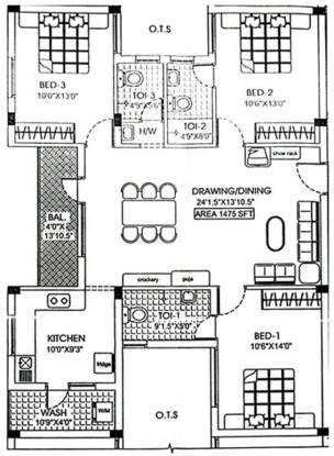 TVH Park Villa (3BHK+3T (1,475 sq ft) Apartment 1475 sq ft)