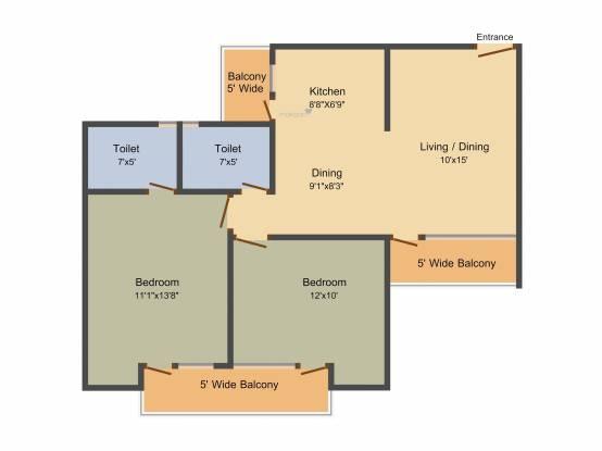 Panchsheel Greens 2 (2BHK+2T (1,105 sq ft) Apartment 1105 sq ft)