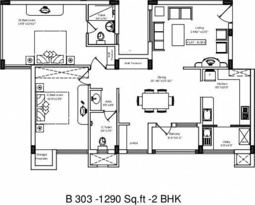 Shriram Sankari (2BHK+2T (1,290 sq ft) Apartment 1290 sq ft)