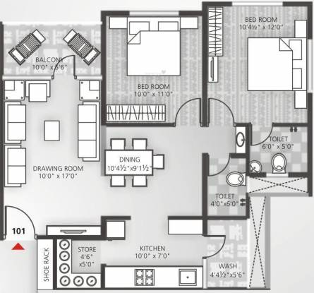Avalon Courtyard 2 (2BHK+2T (1,314 sq ft) Apartment 1314 sq ft)