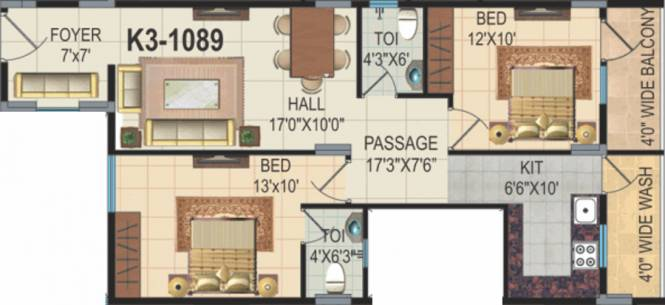 EAPL Sri Tirumala Sarovar (2BHK+2T (1,089 sq ft) Apartment 1089 sq ft)