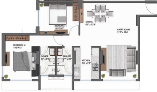 SD 69 SVP (2BHK+2T (1,350 sq ft) Apartment 1350 sq ft)