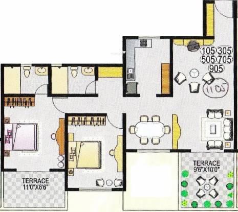 Dorabjee Paradise (2BHK+2T (1,150 sq ft) Apartment 1150 sq ft)