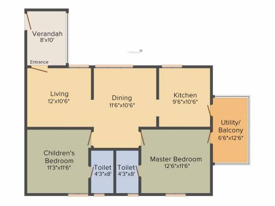 Lahari Twins (2BHK+2T (1,150 sq ft) Apartment 1150 sq ft)