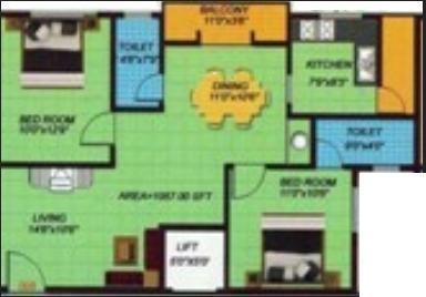 Shiviri Kuteer Bliss (2BHK+2T (1,261 sq ft) Apartment 1261 sq ft)