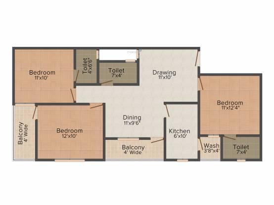 Sheetal Heights (3BHK+3T (1,200 sq ft) Apartment 1200 sq ft)