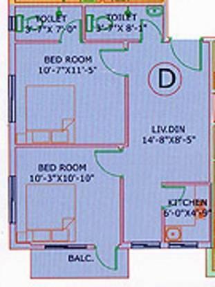 GM Meena Siddhi (2BHK+2T (709 sq ft) Apartment 709 sq ft)