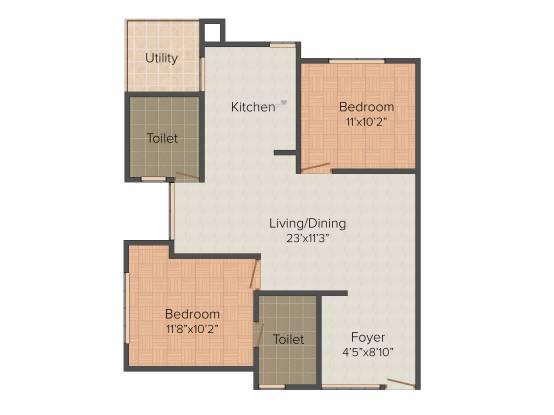 Riddhi Zoa (2BHK+2T (1,140 sq ft) Apartment 1140 sq ft)