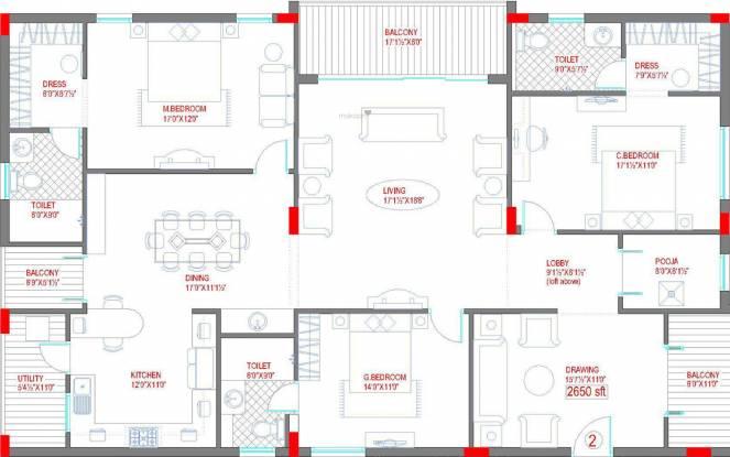 Lahari Benz (3BHK+3T (2,650 sq ft)   Pooja Room Apartment 2650 sq ft)