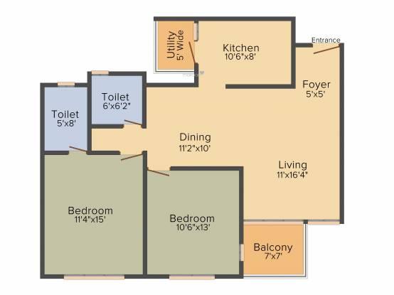 SAF Snowdrops (2BHK+2T (1,152 sq ft) Apartment 1152 sq ft)