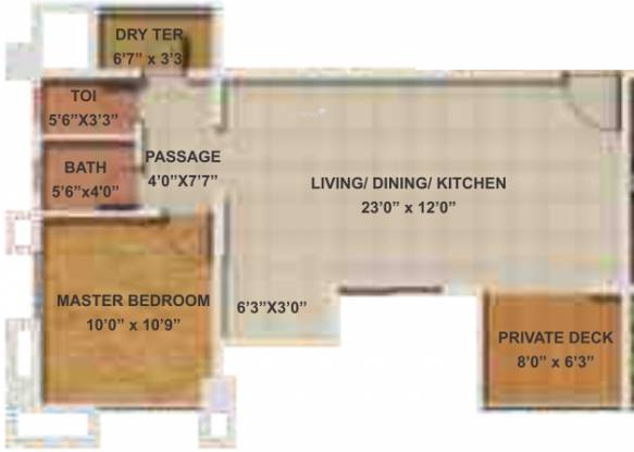 Geras Park View (1BHK+1T (766 sq ft) Apartment 766 sq ft)