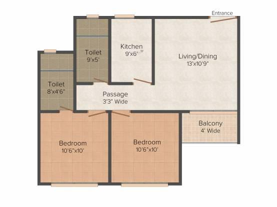 Atri Green Residency (2BHK+2T (840 sq ft) Apartment 840 sq ft)