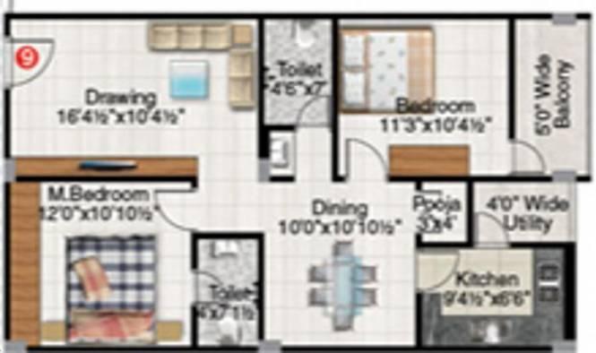 Maram Panchavati Residency (2BHK+2T (1,075 sq ft) Apartment 1075 sq ft)