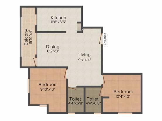 Natwest Ultra (2BHK+2T (930 sq ft) Apartment 930 sq ft)